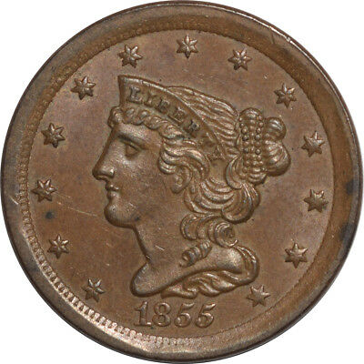 1855 Bradied Hair Half Cent - Uncirculated