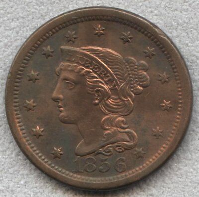 1856 Braided Hair Large Cent AU Detail cleaned long time ago starting to retone