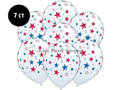 "White + Red Blue Stars Balloons [7ct] 11"" Latex Patriotic Birthday July 4 Party"