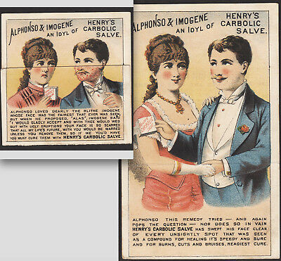 Henrys Carbolic Salve 1880's Pimple Cure Folding Metamorphic Novelty Trade Card