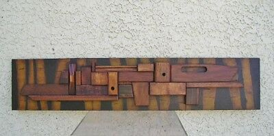 Modern Abstract Brutalist Wood Wall Art Sculpture C. Jere Paul Evans Style