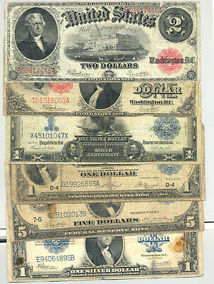 ollection of 6 diifferent large size currency types in good condition or better