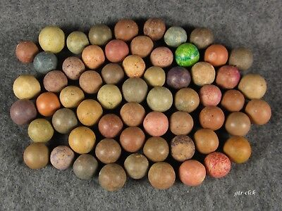 """Nice Lot Of 60 Vintage & Antique Clay Marbles .. 1/2"""" To 11/16"""" .. #0526F"""