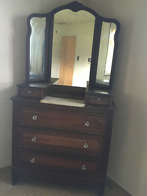 Antique Eastlake ? dresser with Tri fold Mirror and Marble