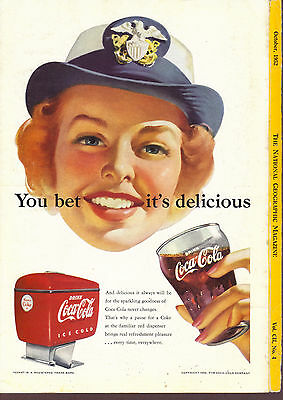 1952 Coca Cola ad You bet it's delicious woman in Wave cap, red Coke dispenser