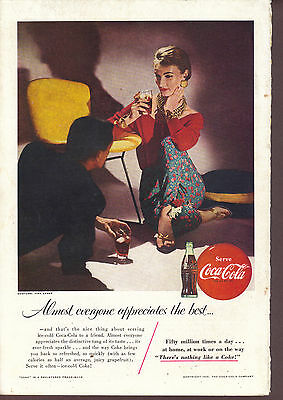1955 Coca Cola magazine print ad Couple on a date Costume by Tina Leser