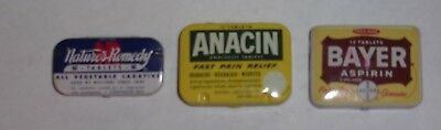 (3) Vintage Tins- Bayer, Anacin, Nature's Remedy- in very good condition.
