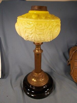 Vict Composition Yellow Oil Lamp with Brass Stem & Black Pottery Foot c1880s