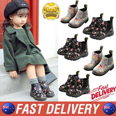 Kids Girls Floral Low Heel Ankle Boots Lace Up High Top Retro Casual Shoes AU