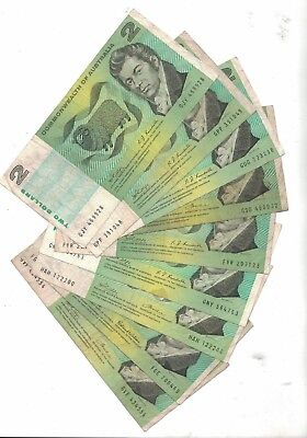 1966 to 1972 Commonwealth of Australia Two Dollars 9 notes VG+