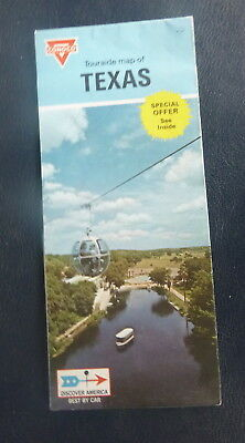 1970 Texas  road map Conoco  oil  gas Six Flags