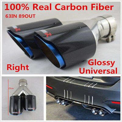 63-89mm Left Side Glossy Real Carbon Fiber Car Vehicle Dual Exhaust Pipe End Tip