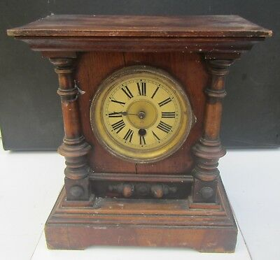 Old Antique 'H.A.C Wurttemberg' Wooden Mantel Clock - for spares or repair