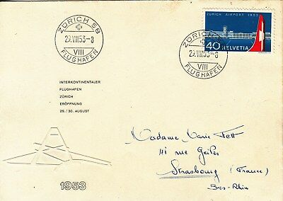 Switzerland: 1953 40c Inauguration of Zurich Airport, SG546, on 1st day cover