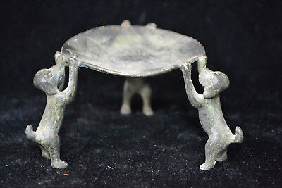 Statue Collectible Decorate Handwork Old Copper 3 dog Delicate Candlestick