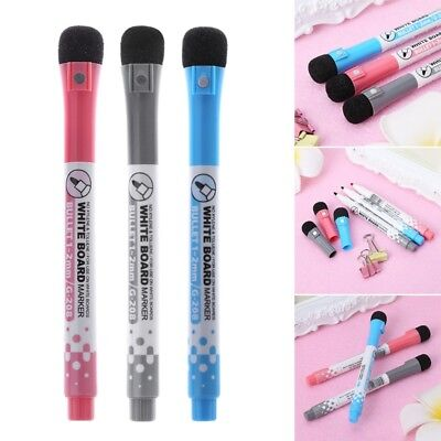 Magnetic Whiteboard Marker Pen Erasable Dry-Erase Ink Mark Sign With Eraser New