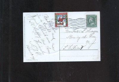 1909 tied Santa Claus  Post Christmas Seal stamp cover, US