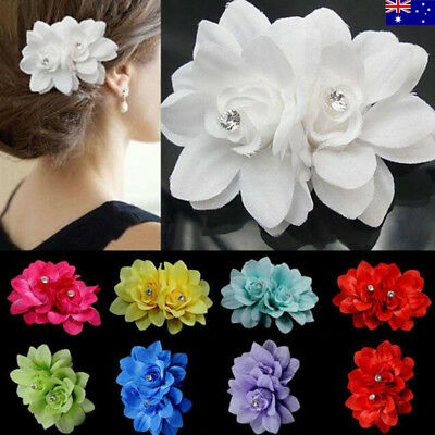 6x Women Girl Flower Hair Clip Pin for Bridal Wedding Party Prom Headwear Salab