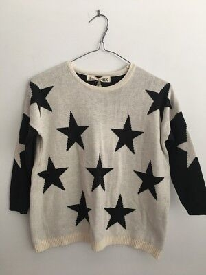 New With Tags! Cotton On Kids Girls Ivory/black Star Knit Sweater - Size 6