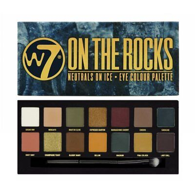 W7 Eye Shadow Palette ON THE ROCKS BRAND NEW 14 great shades in one pallette