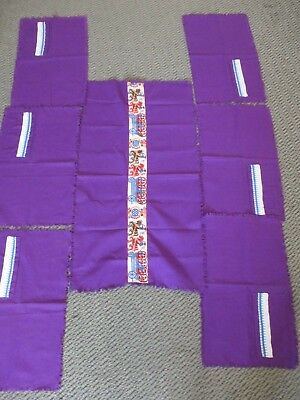 Vintage Table Runner & 6 Place Mats With Cutlery Holder - Purple - Spanish Theme