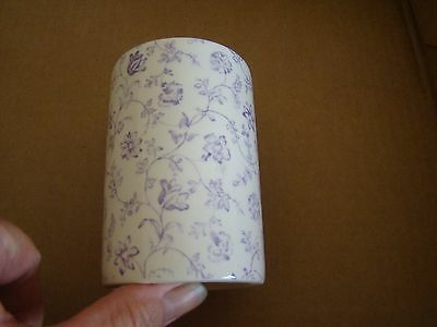 """Crabtree & Evelyn Mason's Ironstone Purple Floral Porcelain Cup 4"""" high London"""