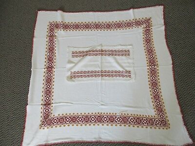 Vintage Hand Made Table Cloth And Place Mat - Cream With Orange Cross Stitch VGC