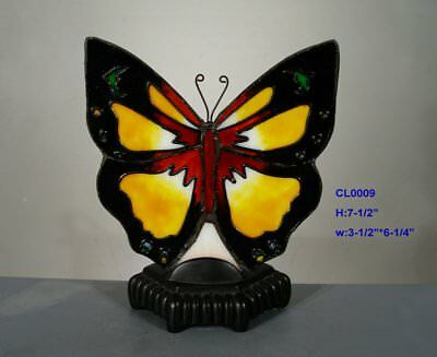 Tiffany Leadlight Stained Glass Butterfly Accent Table Candle Holder 5D9