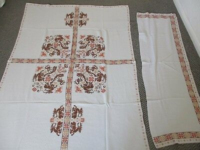 Vintage Table Cloth & Back Of Sofa Cover - Hand Made - Grey & Rust Tones - VGC