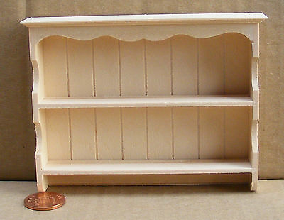 1:12 Scale Wall Mounted Natural Finish Shelving Unit Tumdee Dolls House 139