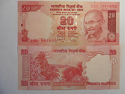 - INDIA PAPER MONEY -  2  'MG'  NOTES - RUPEES 20/-  2010 & 2011 #E11d