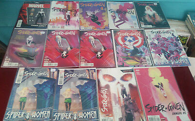 Marvel Comics Lot of (14) Issues Spider-Gwen 001, 1, variants, 2thru 9, Annual 1