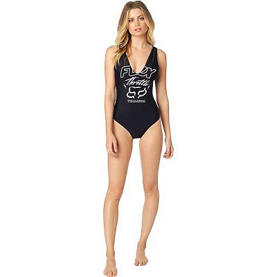 Fox Racing Throttle Maniac Womens Beachwear Swim Costume - Black All Sizes
