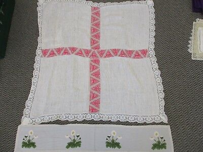 Vintage Table Cloth With A Hand Made Runner - Linen - Ecru & Pink Table Cloth