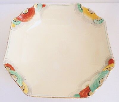 VINTAGE 30s 40s FLORAL HAND-PAINTED/GILT CROWN DEVON FIELDINGS BOWL/DISH~DECO