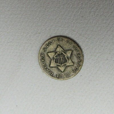 1852 US Three Cent Silver Piece Coin