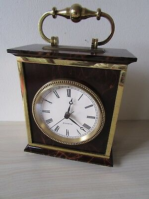 RED MARBLE & SOLID BRASS CARRIAGE CLOCK SCHOLER SWISS MOVEMENT, VERY HEAVY 2kg.