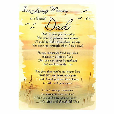 In Loving Memory Open Graveside Memorial Card - Special Dad