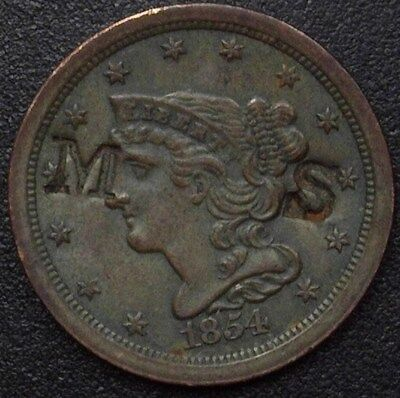 """1854 Braided Hair 1/2 Cent -""""ms"""" Counter Stamped- Uncirculated"""