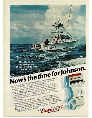 1978 JOHNSON 235 Outboard Motor on ROBALO Boat VTG PRINT AD