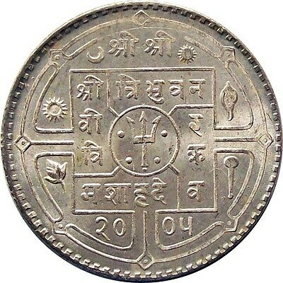 Mint Nepal Rupee Silver Coin 1948 King Tribhuvan Vikram Km# 725 Uncirculated Unc