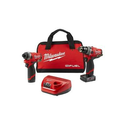 """Milwaukee 2598-22 M12 FUEL™ 2-Tool Combo Kit: 1/2"""" Hammer Drill and 1/4"""" Hex Imp"""