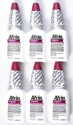 (Lot of 6) AFRIN Original Nasal Spray Up to 12 Hour Relief 1/5 fl oz Bottle >NEW