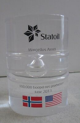 2013 Statoil Marcellus Asset Acrylic Barrel Shaped Paperweight Norway Us