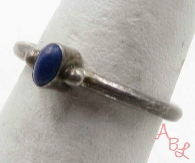 Sterling Silver Vintage 925 Solitaire Lapis Ring Sz 7 (2.3g) - 719204