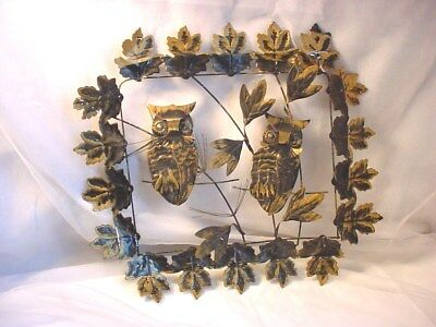 Vtg Owl Metal Wall Scupture Black and Gold Owls 14 inch