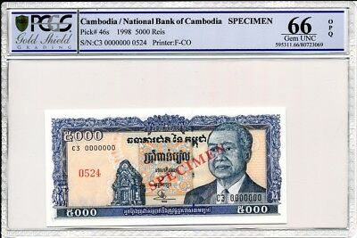 National Bank of Cambodia Cambodia  5000  Ries  1998 Specimen PCGS  66OPQ