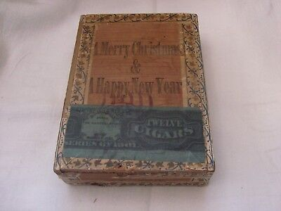 Antique A Merry Christmas & A Happy New Year Cigar Box 9th District Pennsylvania