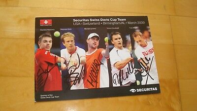 Original Autogrammkarte Securitas Swiss Davis Cup Team