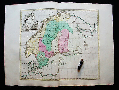 1755 GOOS & PALAIRET - Big Wall-Map of SCANDINAVIA, NORWAY, RUSSIA, OSLO, BERGEN